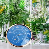 Large Round Thermometer Hygrometer Temperature Humidity Monitor Meter Gauge Blue