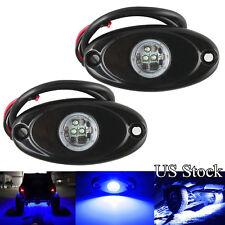 2x Blue CREE LED Rock Light Offroad Underglow Foot Wheel Rig Lights Truck Marine