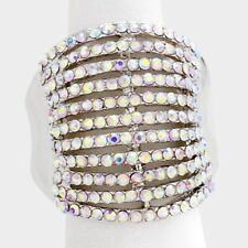 Cocktail Ring Multi Row Rhinestone Pave Crystals Wide Stretch Evening SILVER AB