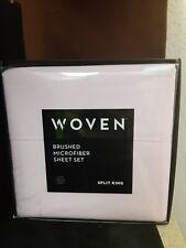 Malouf Woven Brushed Microfiber Light Pink Split King 5 piece Sheet Set.