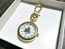 Vintage NIB Hilton Christmas Tree Key Ring Quartz Watch Keychain Gold Tone Metal