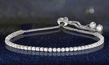 Adjustable Tennis Bracelet with Swarovski Elements: Sterling Silver