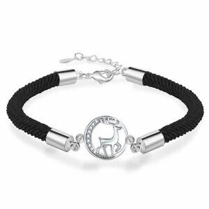 Women 925 Silver Christmas Xmas Snowflake Elk Crystal Bracelet Adjustable Bangle