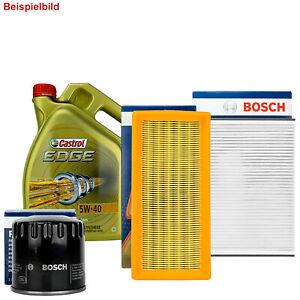 BOSCH FILTER SET INSPEKTIONSPAKET + 5L CASTROL 5W-40 FÜR FIAT 500 (312) 1.4
