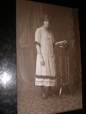 Old postcard woman striped dress c1910s ref 38z(2)