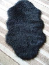 'SPECIAL OFFER' BLACK FAUX SHEEPSKIN PELT SHAPED FLUFFY FUR RUG 70 x 130cms
