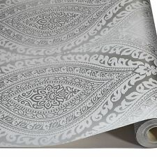 Silver Damask Glitter Wallpaper Metallic Sparkle Luxury Embossed Textured Vinyl