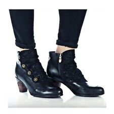 L' Artiste Leather Belgard Ankle Boot Black Sping Step Victorian Size 10.5-11