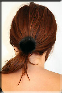 New Black Mink Fur Ball with Scrunchy Scrunchie Scrunchies - Efurs4less