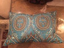 PILLOW New Aqua blue and bronze shade  18x11x 6 - silk chenille sequins