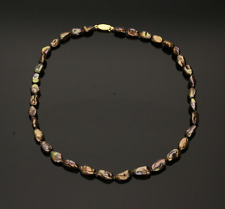 CULTURED PEARL NECKLACE.  CHOCOLATE COLOUR.   18 inches.  7mm Baroque Pearls
