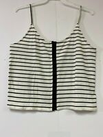 American Eagle Women's Striped Strappy Top Shirt Ivory/Black Size S