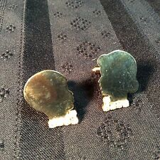 Cufflinks; Unmarked; Gold colored; male & female silhouettes; clear stones