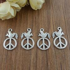 DIY Retro 6pcs Tibetan Silver Peace Sign Crafts Charms Pendants Making Jewelry