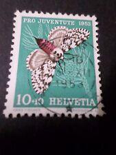 SUISSE 1953, timbre 540, PAPILLON INSECTE, NONNE, oblitéré, BUTTERFLY, used
