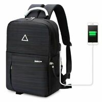 "Men's Waterproof Nylon DSLR Camera Bag 14"" Laptop Backpack School Bag & USB Port"