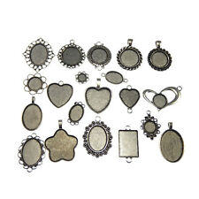 Mixed Cameo Base Alloy Pendant Charms 20pcs Retro Silver Heart Round Oval Square
