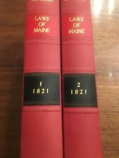 1821 2 Volume Set Laws of the State of Maine Antique Law Books RARE Griffin