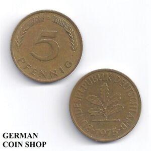 BRD 5 Pfennig 1950 - 1994 A D F G J