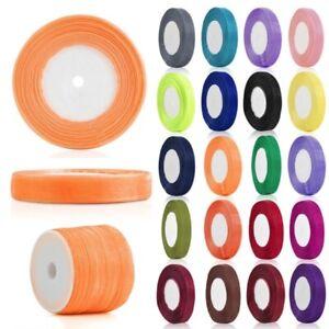 50 Yards Sheer Organza Ribbon Bows 3/6/10/15/20/25/38/50mm Wedding Supply DIY