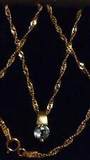 "9ct 375 Yellow Gold & Natural AQUAMARINE Gemstone Pendant & 18"" Chain Necklace**"