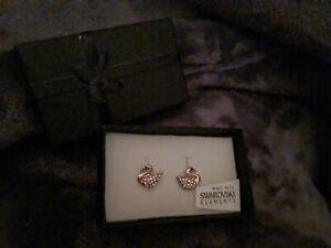 Swarovski Earrings Swans in Gift Box