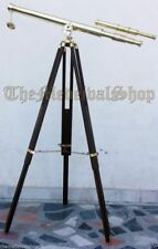 Nautical Marine U.S Navy Double Barrel Tripod Stand Telescope Spyglass Decor