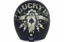 Torc Route 66 T50 Flat Black Lucky13 Bullhead Graphic 3/4 Open Face Helmet - L