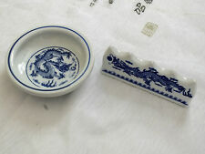 JAPANESE BLUE DRAGON CERAMIC DISH WASH CHINESE WRITING PAINTING BRUSH STAND REST