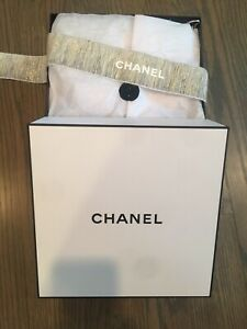 "CHANEL White Black Gift Box 10.5"" Square With Logo Gold Ribbon Authentic Empty"