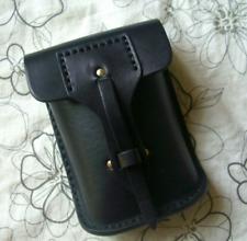 Men Bag belt Waist fanny Pack pocket wallet purse Cow Leather Pouch black 211