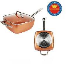 SQUARE COPPER NON STICK FRYING PAN STEAMER CASSEROLE 5 PIECE SET INDUCTION BASE
