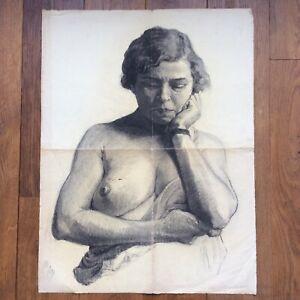 Large Drawing Original Charcoal Portrait Etude De Naked Original Drawing
