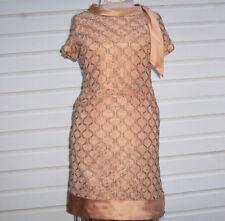 VINTAGE 60s LACE SATIN Peach A LINE COCKTAIL PARTY DRESS Size L