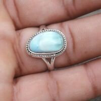 Larimar Solid 925 Sterling Silver Anxiety Ring Meditation Ring SR019