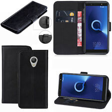 Genuine Black Leather Wallet Phone Case Cover For Various Alcatel Mobile Phones