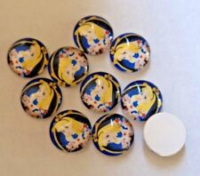 10  x Glass Domed Cabochons - Alice in Wonderland - approx 11 mm