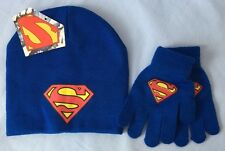 DC COMICS SUPERMAN YOUTH KIDS BLUE KNIT BEANIE HAT & GLOVES SET FREE SHIPPING
