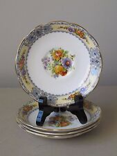 Royal Albert Saucers, Set of (4) Yellow and Blue with Gold Trim Floral & Fruit