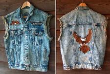 Vintage Levis Denim Jacket Biker Vest Harley Davidson Motorcycle Patch Size L