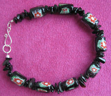 Handmade black chips and red flower beads bracelet