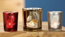 Votivglas Windlicht Eule 3er-Set (G24423) Kerzenhalter Kerzenglas