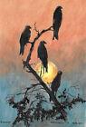 original painting A4 220VL art samovar Mixed Media Modern birds at sunset