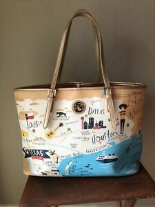 Spartina Texas Tote Purse Bag Carry All Lone Star State Has Scuffs Light Wear