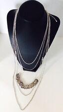 $22 Carole Layering Chain Necklace Silvertone Metal Multi-Chain w/Coin Dangles