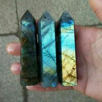 Natural Labradorite Quartz Obelisk Crystal Column Wand Point Healing-Stones Gift