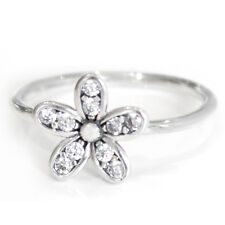 DAISY Ring Solid Sterling Silver Dazzling Pave Stacking Flower Band Size 8.5