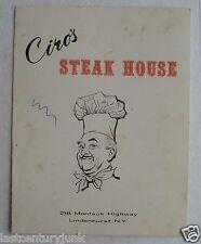 Menu For Ciro's Steak House, 218 Montauk Highway  Lindenhurst Long Island 60's