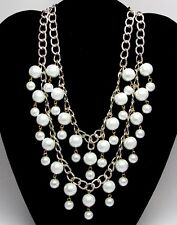 Two 2 Broke Girls Caroline Style Pearl Bridal Wedding Party Statement Necklace