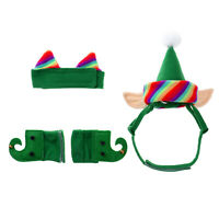 Christmas Pets Elf Costume Green Hat Neck Collar Ankle Cuffs for Cats Dogs Puppy